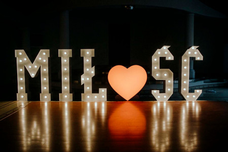 Napis Miłość + Serce LED RGB